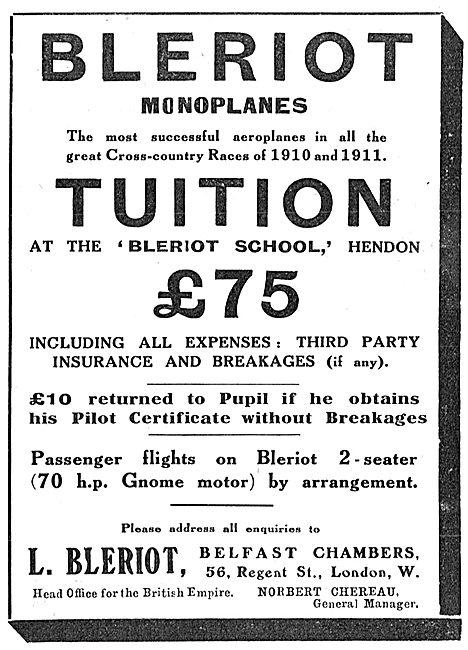 Bleriot Monoplanes - Bleriot School Hendon