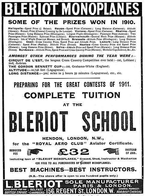 Bleriot Monoplanes - Bleriot Flying School - Prizes Won