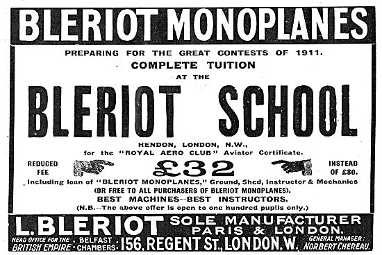 Reduced Fees For Aviators Tuition At The Bleriot School Hendon