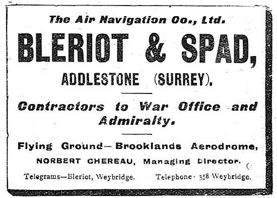 The Air Navigation Co. Brooklands. Bleriot & Spad Aircraft
