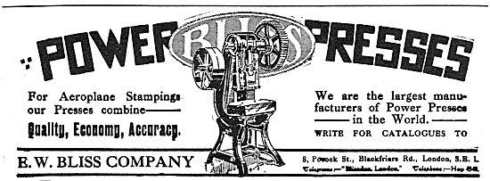 Bliss Power Presses - 1918 Advert