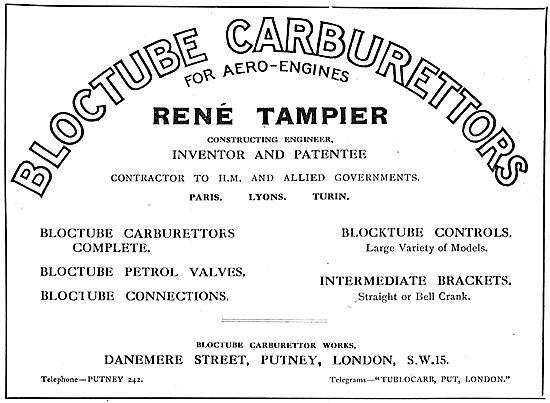 Bloctube Carburetters For Aero Engines. Rene Tampier