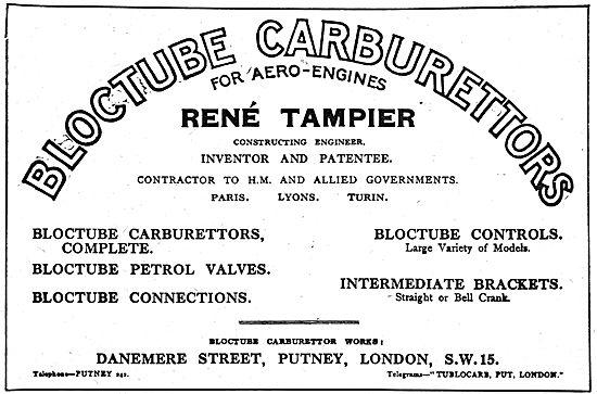 Rene Tampier Bloctube Carburettors For Aero Engines