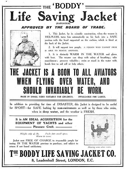 The Boddy Life Saving Jacket Co: Life Jackets For Aviators