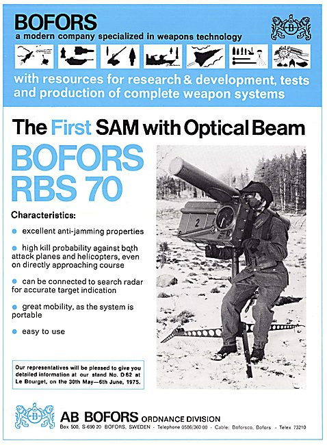 Bofors Aircraft Weapons Systems - Bofors RBS 70 SAM