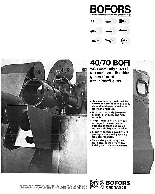 Bofors Aircraft Weapons Systems - 40/70 BOFI