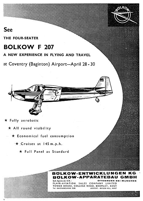 Bolkow F207 At Baginton April 1961