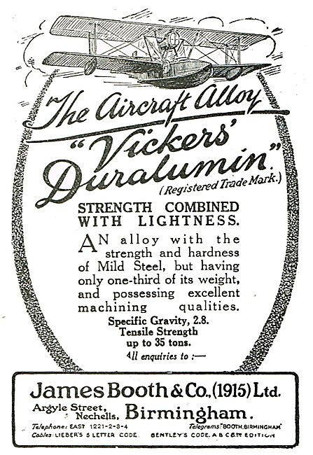James Booth For Vickers Duralumin - The Aircraft Alloy