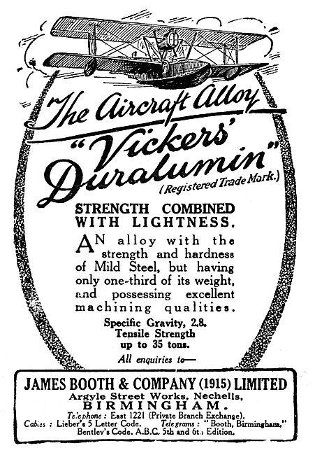 James Booth Duralumin 1929 Advert