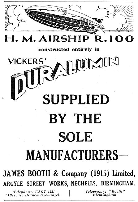 HM Airship R100 Constructed In James Booth Vickers Duralumin