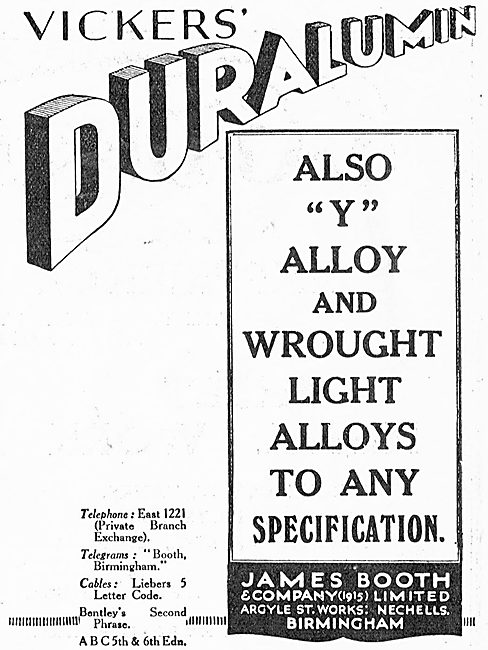 James Booth For Vickers' Duralumin