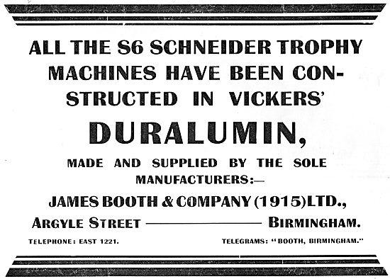 James Booth Duralumin - Schneider Trophy