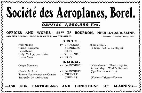 Societe Des Aeroplanes. Borel