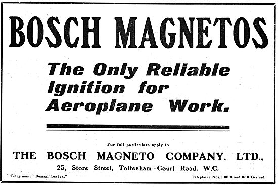 Bosch Magnetos - the Only Reliable Ignition For Aeroplane Work