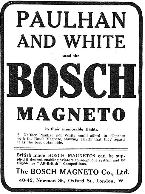 Paulhan & White Used Bosch Magnetos In Their Memorable Flights