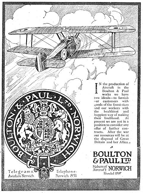 Boulton & Paul Aircraft 1918