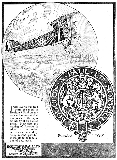 Boulton Paul.  Boulton & Paul Aircraft 1918