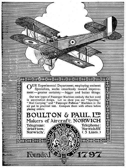 Boulton & Paul - Passenger Pullman & Mail Carrying Aircraft