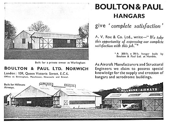 Boulton & Paul - Aeroplane Hangar For Hillmans Airways