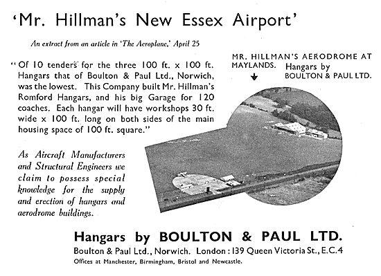 Boulton & Paul -Mr Hillman's New Essex Airport