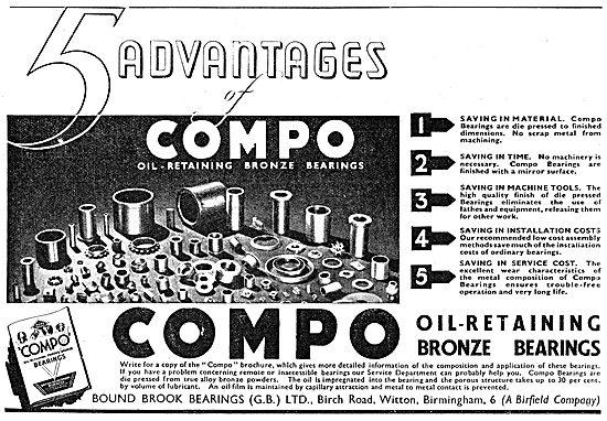 British Bound Brook  COMPO Oil Retaining Bronze Bearings