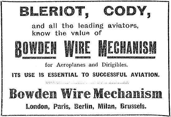 The Bowden Wire Mechanism For Controlling Aeroplanes
