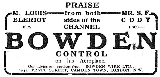 Bowden Wire Aeroplane Controls Praised By Bleriot & Cody.