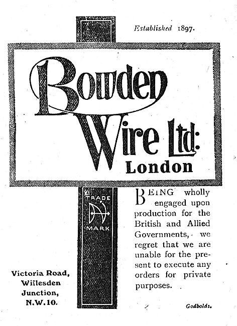 Bowden Wire Ltd. Manufacturers Of Aircraft Wires & Levers