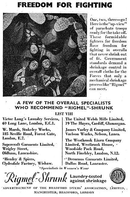 Bradford Dyers' Association Rigmel-Shrunk Workwear 1943