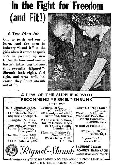 Bradford Dyers' Association Rigmel-Shrunk Overalls 1943