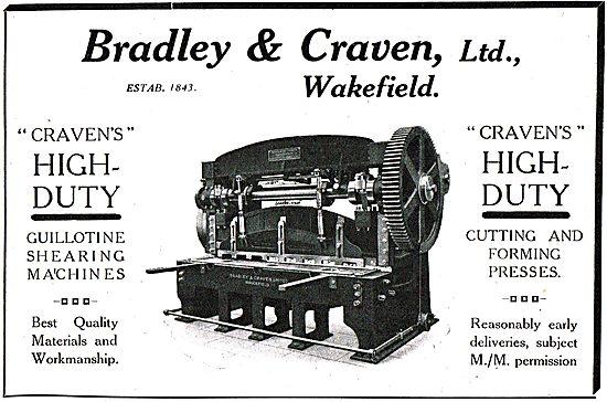 Bradley & Craven. Craven High Duty Guillotine Shearing Machines