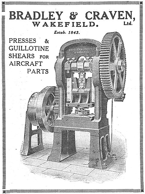 Bradley & Craven Presses, Guillotine Shears For Aircraft Parts