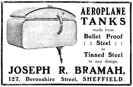 Joseph Bramah - Bullet Proof Aeroplane Fuel Tanks