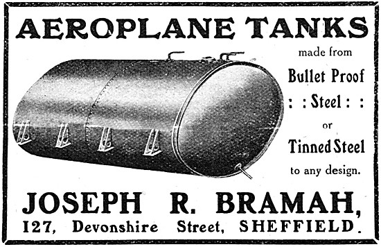 Bramah Sheet Metal Work. Bramah Aeroplane Fuel Tanks