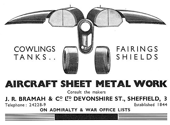 J R Bramah Devonshire Street Sheffield  Aircraft Sheet Metal Work