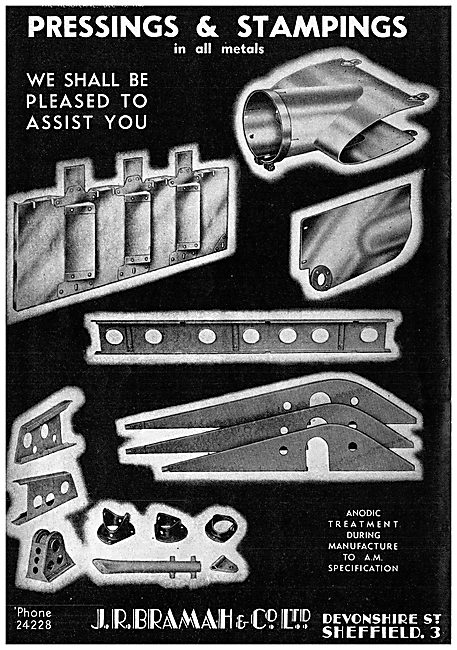J R Bramah & Co - Pressings & Stampings For The Aircraft Industry