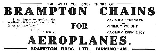Read What Col Cody Thinks Of Brampton Chains For Aeroplanes