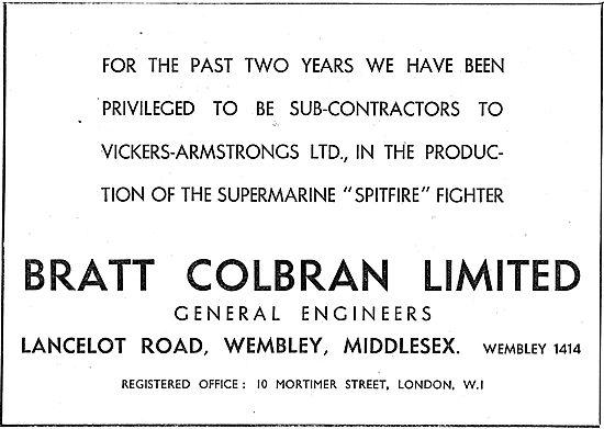 Bratt Colbran. Lancelot Rd. Wembley. Aircraft Engineers