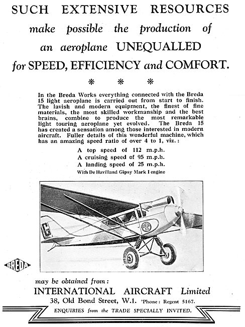 Breda 15  Aircraft 1930 Advert