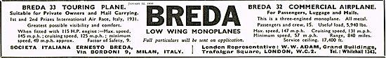 Breda 33 Training Aircraft  Breda 22 Commercial Airplane