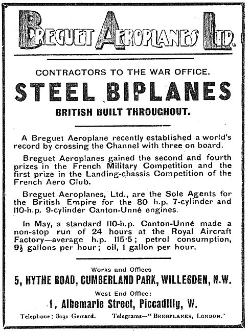 Breguet British Built Steel Biplanes