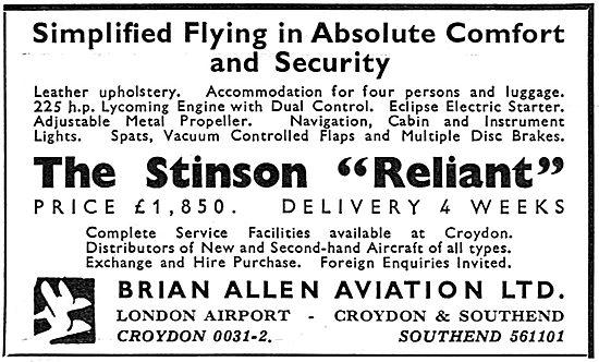 Brian Allen Aviation Croydon: Stinson Reliant Distributors