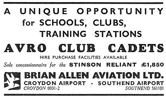 Brian Allen Aviation - Avro Club Cadet Aircraft - Stinson Reliant