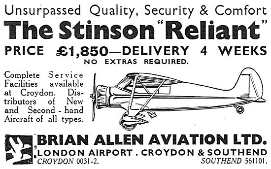 Brian Allen Aviation - Stinson Reliant Sales & Service