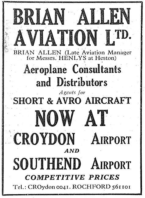 Brian Allen Aviation Croydon - Flying School At Southend
