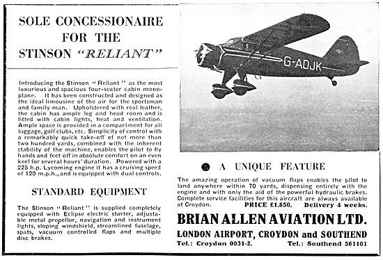 Brian Allen Aviation. Croydon: Stinson Reliant