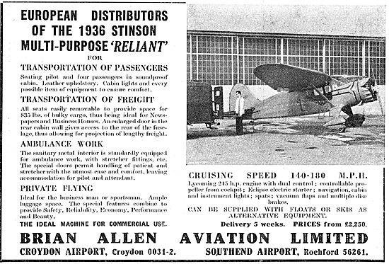 Brian Allen Aviation : Distributors Of Tipsy & Stinson Reliant