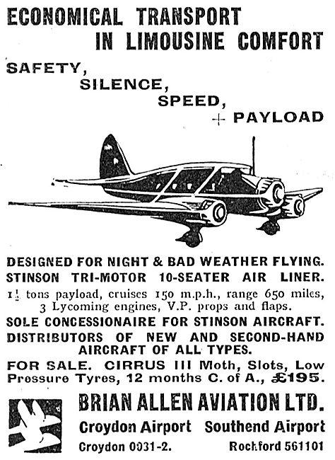 Brian Allen Aviation : Distributors Of  Stinson Aircraft