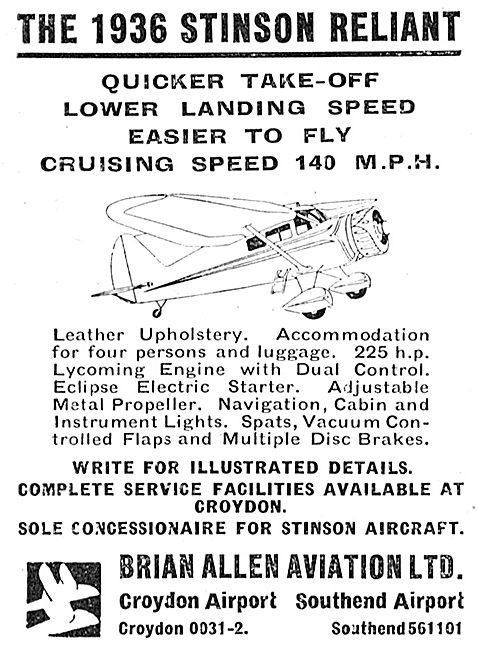 Brian Allen Aviation : Stinson Reliant