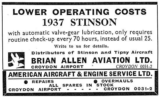 Brian Allen Aviation Croydon: Distributors Of Tipsy & Stinson